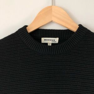 MONTEAU Cropped Relaxed Fit Rib-Knit Sweater M
